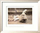 Joe DiMaggio Sliding into Third Art