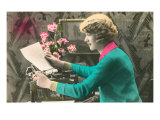 Woman Reading Letter from Typewriter Prints