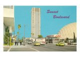 View of Sunset Boulevard, Hollywood, California Posters