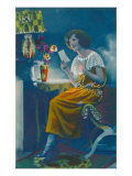 Lady Reading Letter by Lamplight Prints