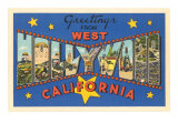 Large Letter Greetings from West Hollywood, California Posters