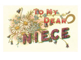 To My Dear Niece, Floral Lettering Print