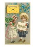 Bonne et Heureuse Annee, Victorian Children with Letter Posters