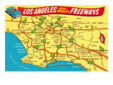 Freeway Map, Los Angeles, California Prints