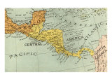 Map of Central America, Giclee Print