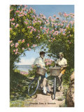 Bicyclists with Oleanders, Bermuda Prints