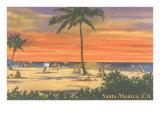 Beach Scene at Santa Monica, California Art