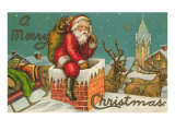 A Merry Christmas, Santa Entering Chimney Prints