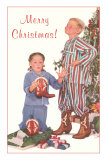 Merry Christmas, Kids with Cowboy Boots Posters
