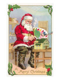 A Merry Christmas, Santa in Workshop Poster