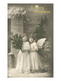 A Merry Christmas, Cherub and Girl Prints