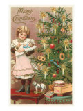 Merry Christmas, Girl with Doll Pósters