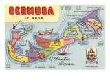 Map of Bermuda Islands Prints