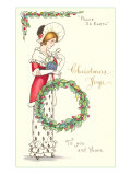 Christmas Joys, Victorian Lady with Wreath Print