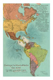 Map of the Americas, Opening of the Panama Canal, Masterprint