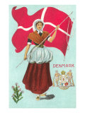 Danish Girl with Flag Prints