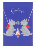 Scottie Dogs with Christmas Tree Prints