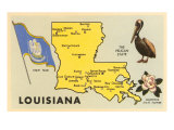 Louisiana, Map, Pelican, Flag, Magnolia Art Print