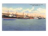 Ships at Dock, New Orleans, Louisiana Print