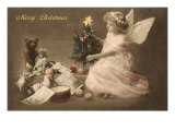 Merry Christmas Angel with Tree and Toys Print