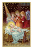 Merry Christmas, Angels Admiring Baby Jesus, Art Print