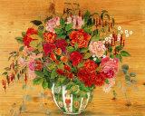 Flowers on Wood II Print by Margaret Murton