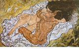 Embrace, 1917 Plakat af Egon Schiele