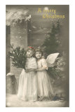 A Merry Christmas, Cherub and Girl Posters