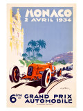 Monaco Grand Prix F1 Race, c.1934 Gicleetryck av Geo Ham