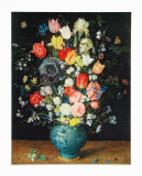 Flowers in a Blue Vase Collectable Print by Jan Brueghel the Elder