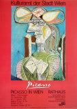 Frau mit Hut Auf Blauem Hintergrund Kunstdrucke von Pablo Picasso