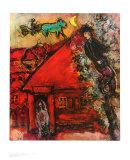 La maison rouge Affiches par Marc Chagall
