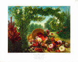 Floral Basket in a Park Collectable Print by Eugene Delacroix