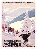 Sports d'hiver dans les Vosges Impression giclée par Roger Broders