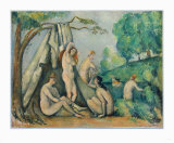 Bathers in Front of a Tent Collectable Print by Paul Cézanne
