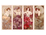 Precious Stones and Flowers Giclée-tryk af Alphonse Mucha