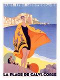 La plage de Calvi Impression giclée par Roger Broders