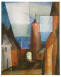 The Gruetz-Tower in Treptow at the Rega, 1928 Plakater av Lyonel Feininger