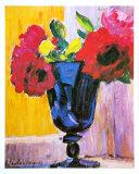 Roses dans un vase bleu Affiches par Alexej Von Jawlensky