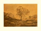 Landscape with a Tree Samlertryk af Jean-Baptiste-Camille Corot