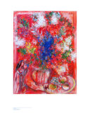 The Red Flowers Prints by Marc Chagall