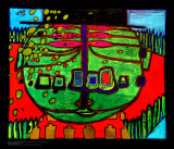 Three-Eyed Green Buddha with Hat, c.1963 Posters av Friedensreich Hundertwasser