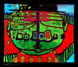 Three-Eyed Green Buddha with Hat, c.1963 高品質プリント : フリーデンスライヒ・フンデルトヴァッサー