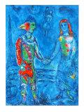 Couple in Blue Samlertryk af Marc Chagall