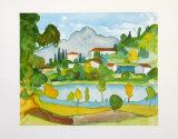 Montain Village in the Tessine at the Lake Agno Affischer av Hesse, Hermann