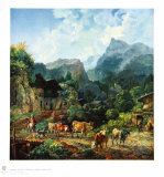 Morning in a Tirolese Village Collectable Print by Johann Heinrich Bürkel