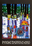 Imagine Tomorrows World (blue) Art by Friedensreich Hundertwasser