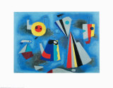Formen Auf Blauem Grund Kunstdrucke von Willi Baumeister