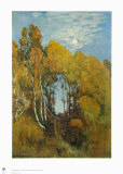 Autumn Forest in the Moon Light Collectable Print by Eugen Bracht