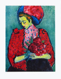 Girl with Peonies Reproductions pour les collectionneurs par Alexej Von Jawlensky